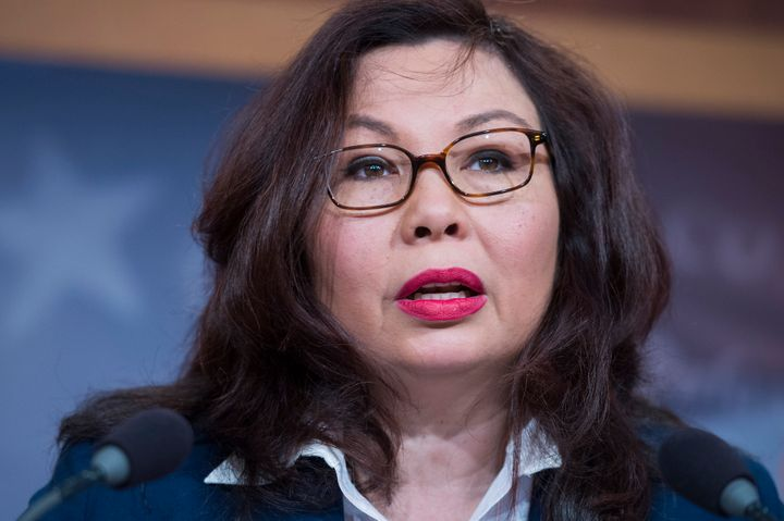 Sen. Tammy Duckworth speaks at a news conference in the Capitol on May 9, 2017.