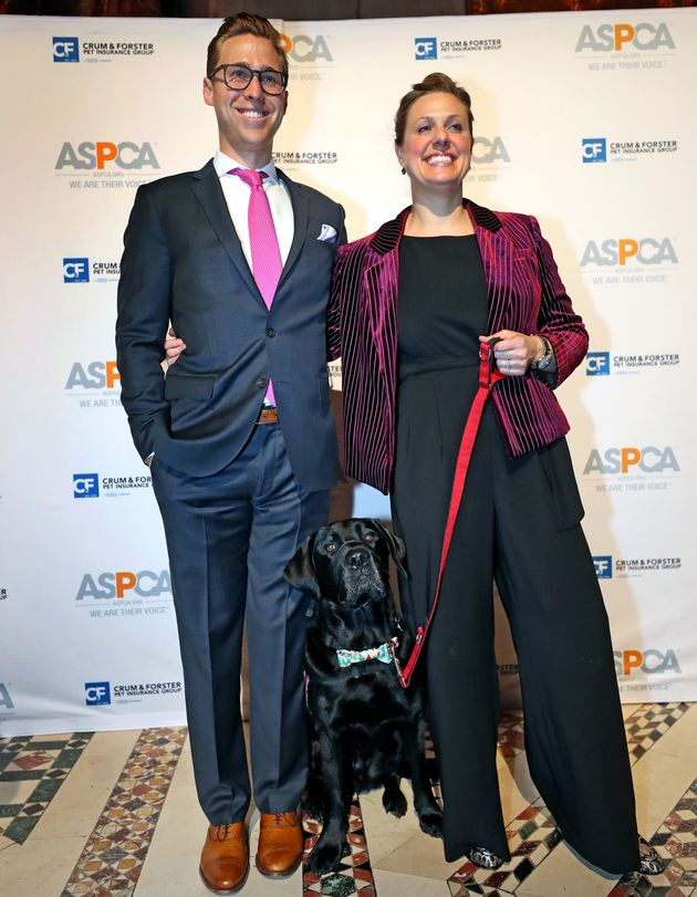 Downes and Kensky pose for photos with Rescue at the ASPCA Humane Awards in New York City in