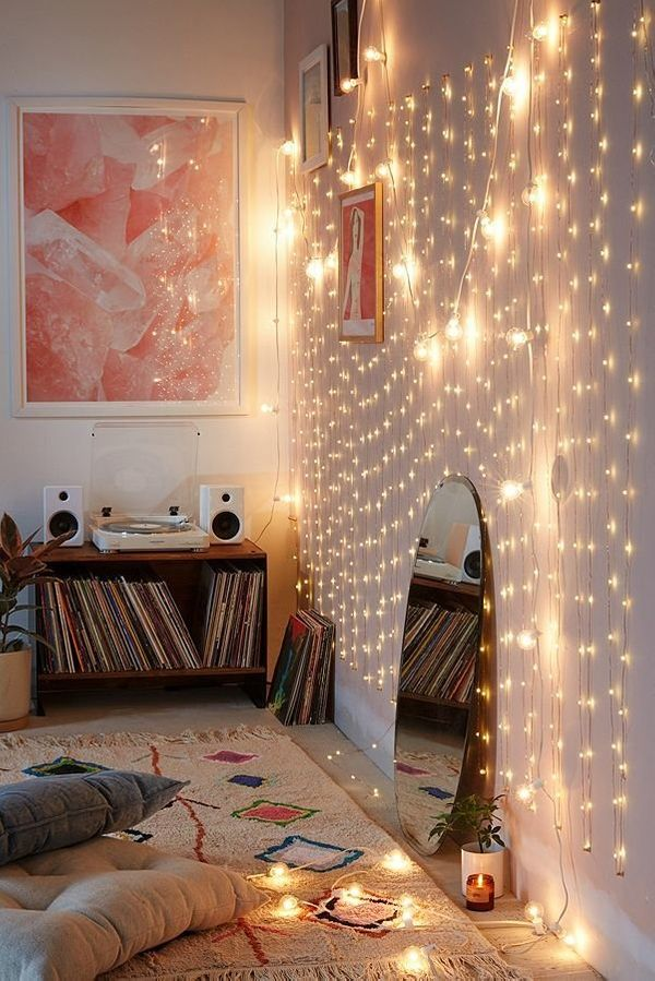 Hang some string lights along your walls, on your headboard, or in your living room for some ambient lighting. Get these fire