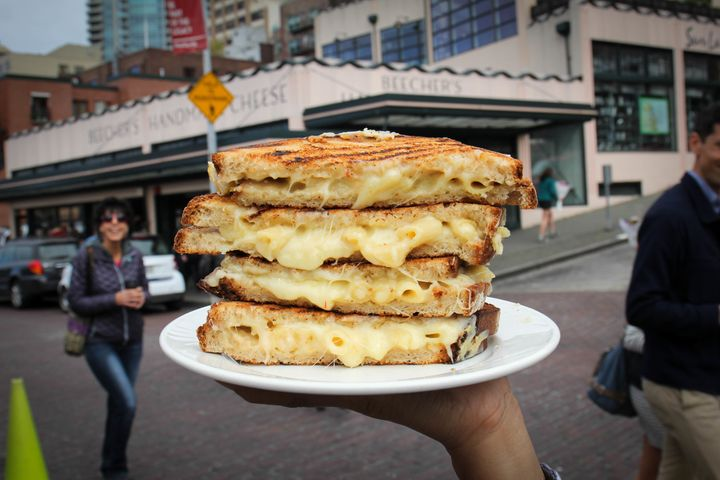 Beecher's makes a special mac and cheese grilled cheese sandwich every year on National Grilled Cheese Day
