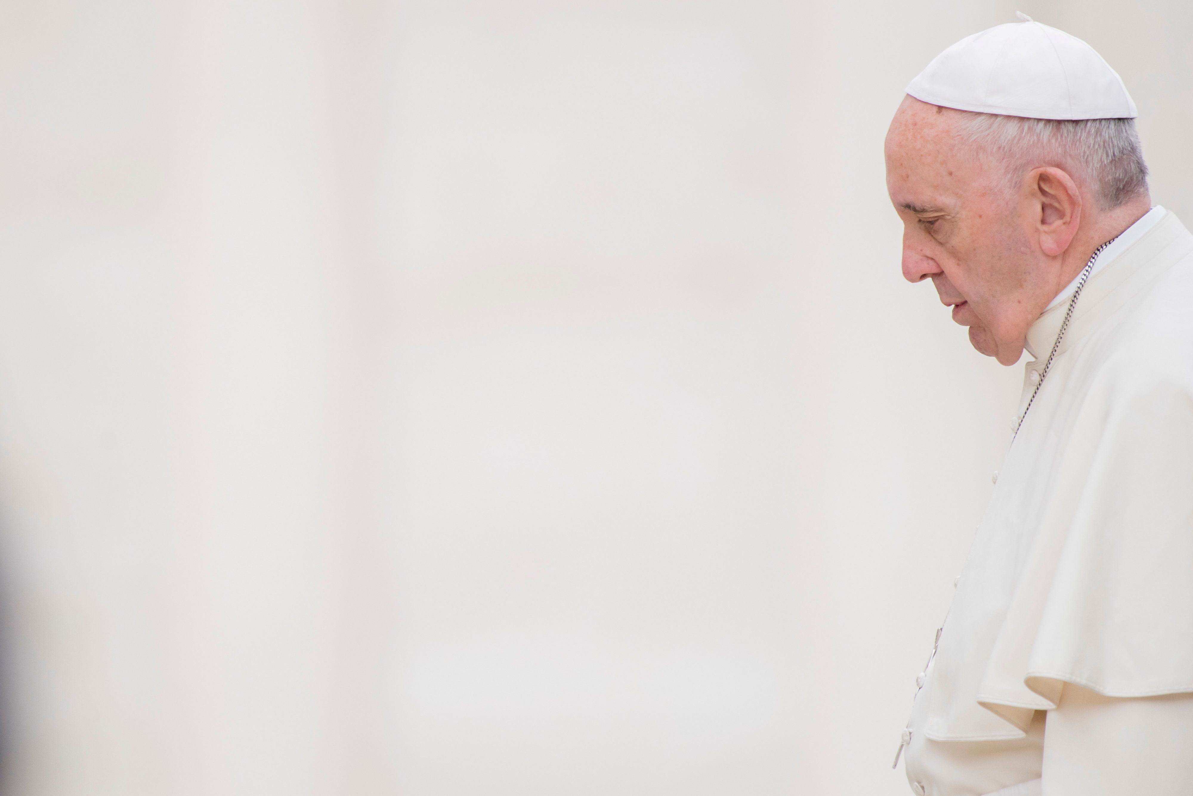 Pope Francis attends his weekly general audience in St Peter Square at the Vatican, Wednesday, April...