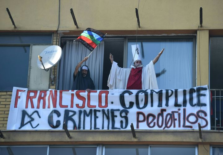 People demonstrate against Pope Francis' visit to Chile on January 16, 2018.