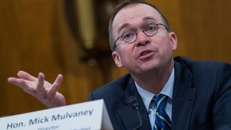 UNITED STATES - FEBRUARY 13: Mick Mulvaney, director of the Office of Management and Budget, testifies before a Senate Budget Committee hearing on the 'Presidents Fiscal Year 2019 Budget' in Dirksen Building on February 13, 2018. (Photo By Tom Williams/CQ Roll Call)