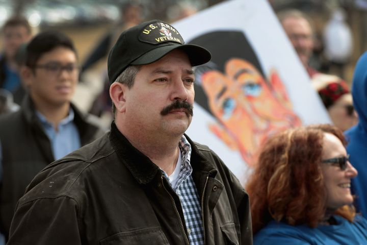 "Democrat Randy ""IronStache"" Bryce participates in the March for Our Lives rally for greater gun regulation in Janesville, Wis"