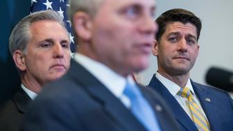 UNITED STATES - MARCH 06: From left, House Majority Leader Kevin McCarthy, R-Calif., Majority Whip Steve Scalise, R-La., and Speaker of the House Paul Ryan, R-Wis., conduct a news conference in the Capitol after a meeting of the House Republican Conference on March 06, 2018. (Photo By Tom Williams/CQ Roll Call)