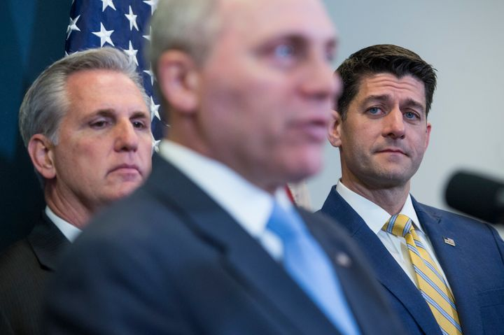 House Majority Leader Kevin McCarthy (R-Calif.), Majority Whip Steve Scalise (R-La.) and Speaker of the House Paul Ryan (R-Wi