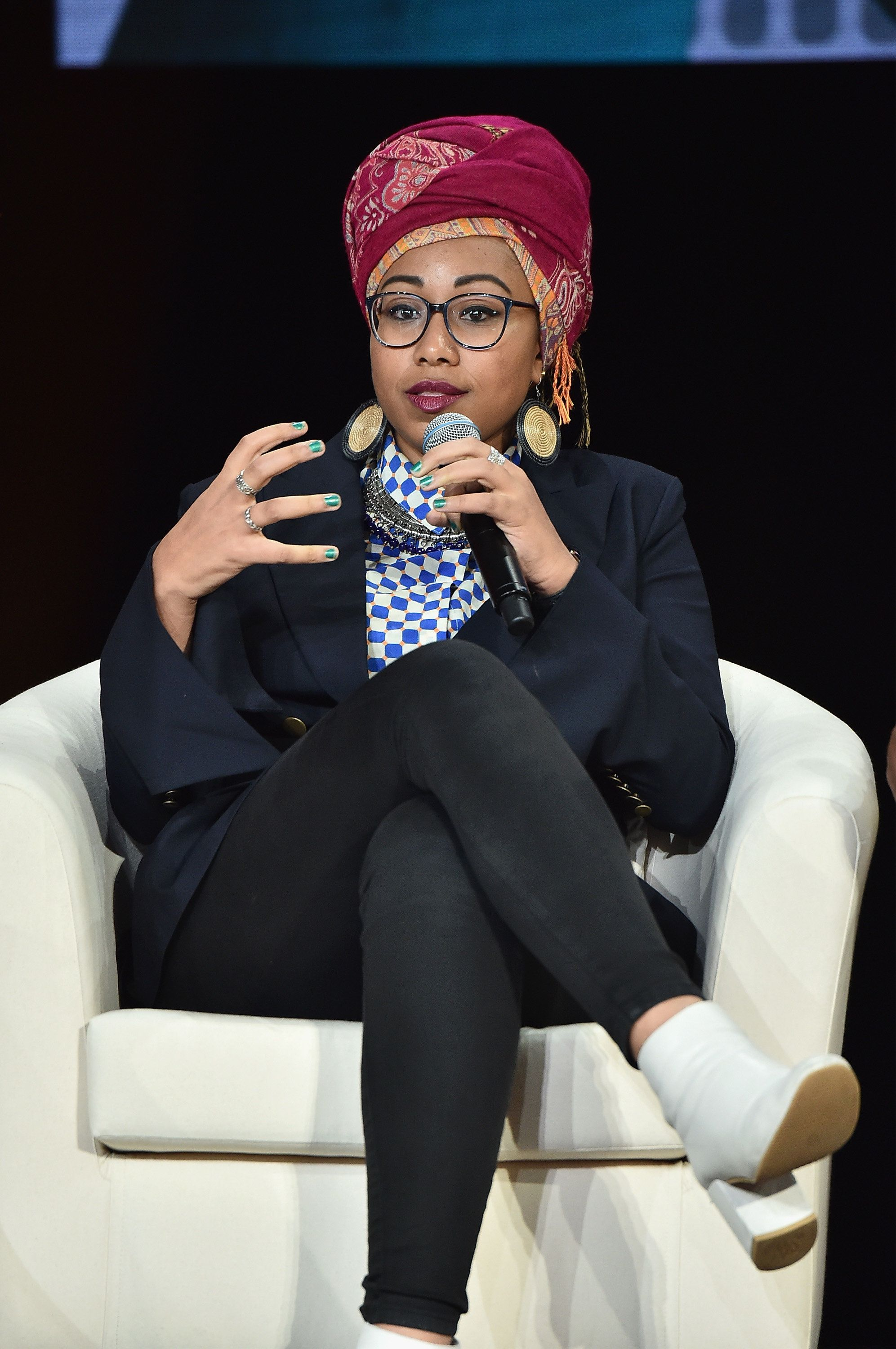 NEW YORK, NY - SEPTEMBER 19:  Author and activist Yassmin Abdel-Magied speaks onstage during Global Citizen: Movement Makers at NYU Skirball Center on September 19, 2017 in New York City.  (Photo by Theo Wargo/Getty Images for Global Citizen)