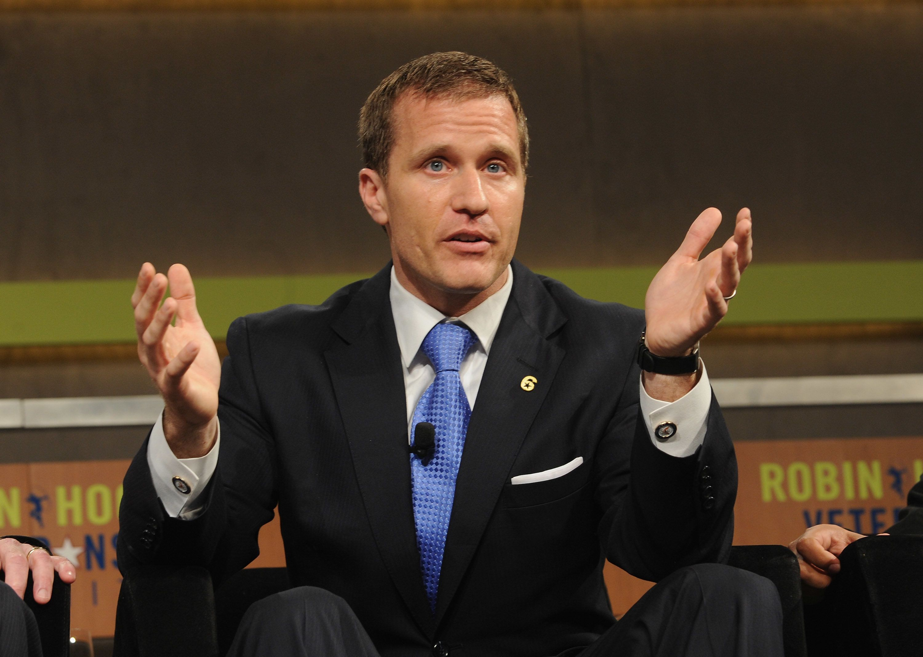 NEW YORK, NY - MAY 07: Eric Greitens Founder and CEO, The Mission Continues speaks at the Robin Hood Veterans Summit at Intrepid Sea-Air-Space Museum on May 7, 2012 in New York City.  (Photo by Craig Barritt/Getty Images for The Robin Hood Foundation)