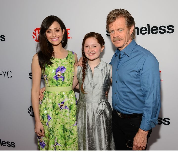 """Shameless"" actors Emmy Rossum, Emma Kenney and William H. Macy pictured together in 2013."