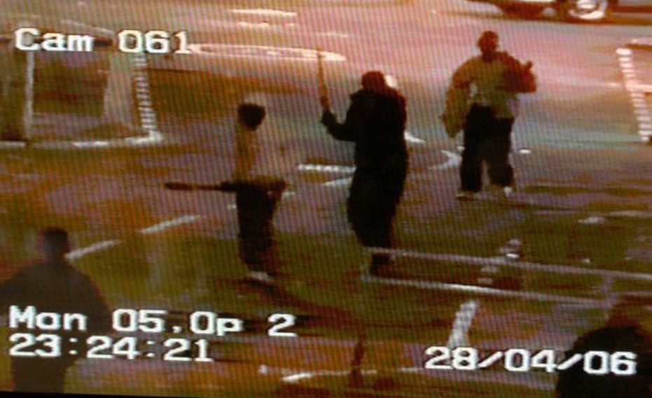 A knife fight in Glasgow in 2006 was caught on
