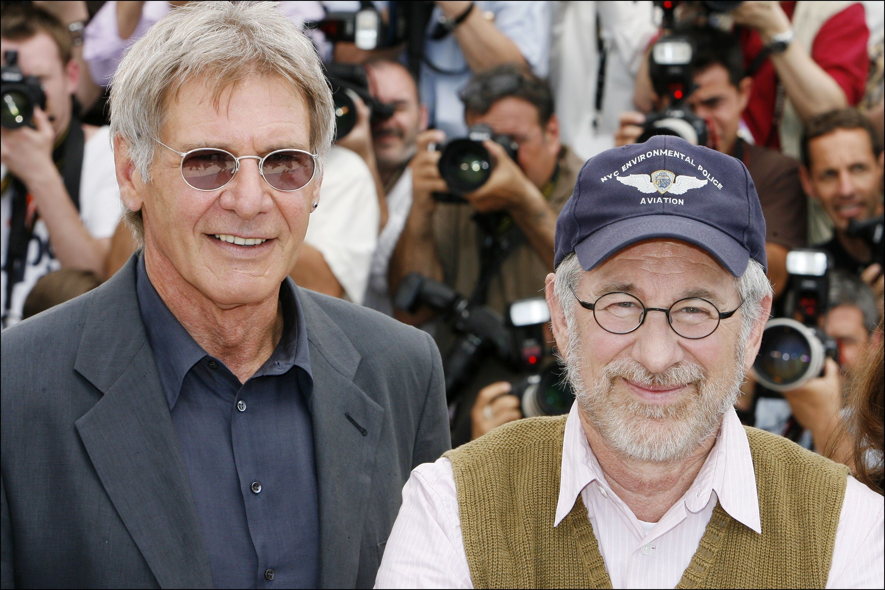 FRANCE - MAY 18:  Photocall of 'Indiana Jones 4' at the Cannes film festival In Cannes, France On May 18, 2008- Harrison Ford, Steven Spielberg.  (Photo by Pool BENAINOUS/SANCHEZ/Gamma-Rapho via Getty Images)