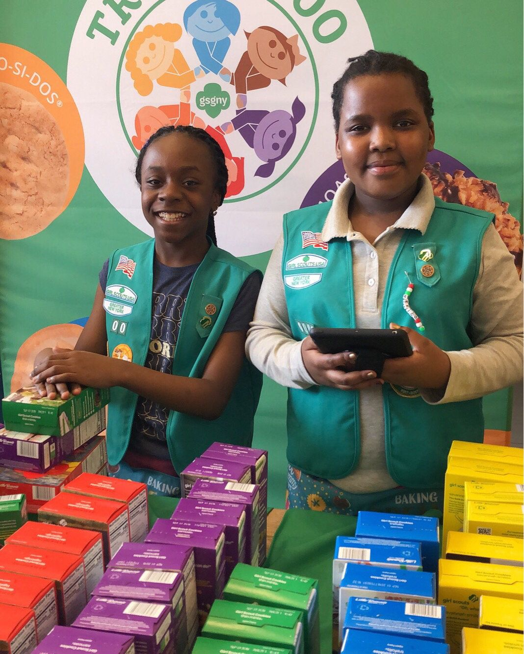 Members of Girl Scout Troop 6000 are set for the Union Square cookie sale