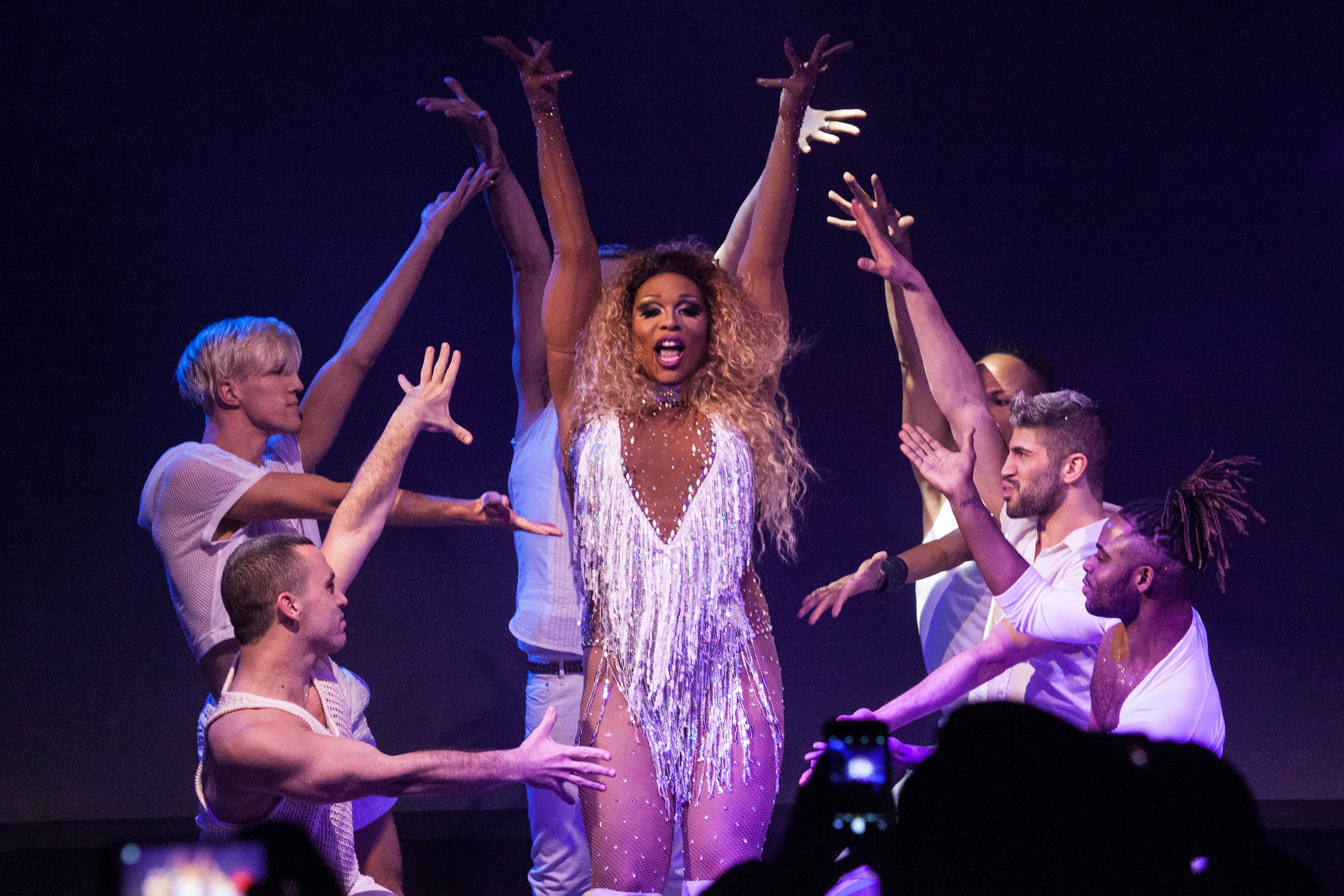 """RuPaul's Drag Race"" Season 9 runner-up Peppermint performs in March 2017."