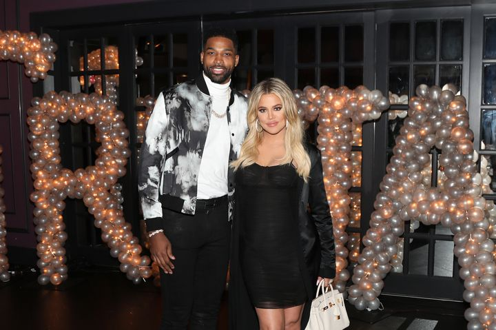Tristan Thompson and Khloe Kardashian pictured together at his birthday party.