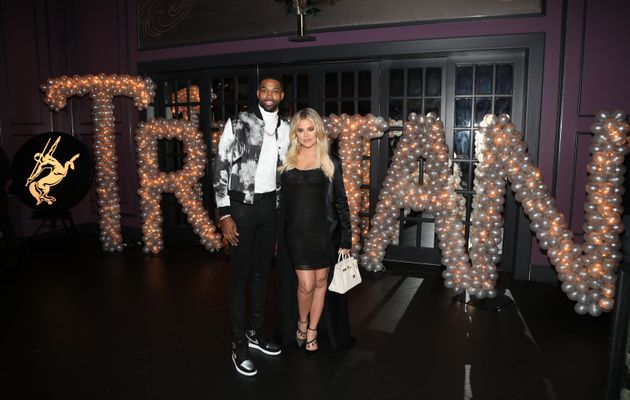 Tristan Thompson and Khloe Kardashian pictured together at his birthday