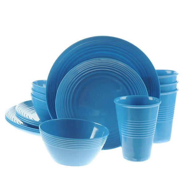 Made of a durable break-resistant material, this dinnerware set is a colorful alternative to your porcelain China. Get the se