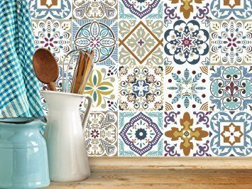 Refresh the look of your kitchen or bathroom with the easy-to-use, easy-to-remove tile stickers. One package comes with a set