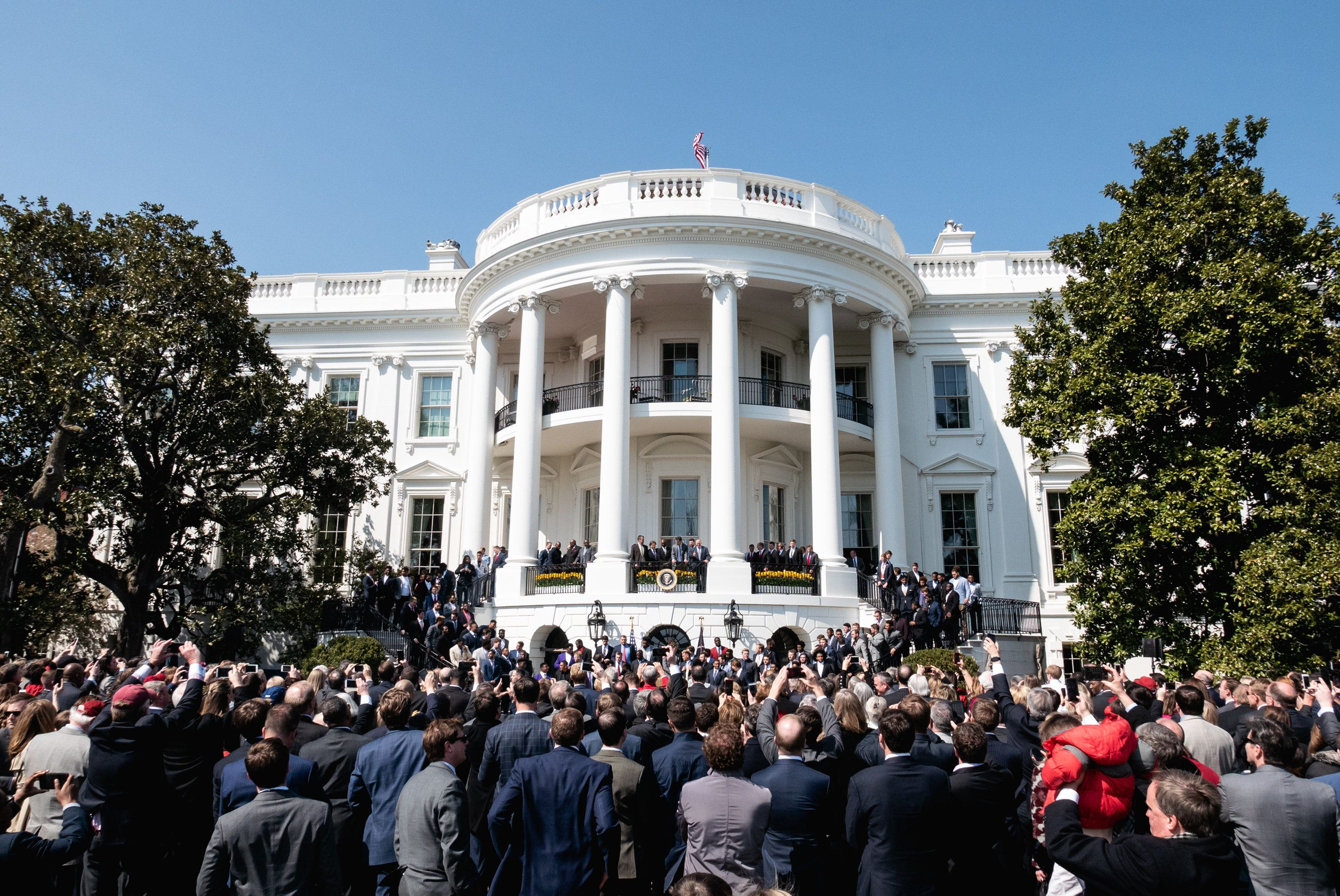 In celebration of their championship, U.S. President Donald Trump welcomes the 2017 NCAA Football National Champion Alabama Crimson Tide to the South Lawn of the White House on Tuesday, April 10, 2018. (Photo by Cheriss May) (Photo by Cheriss May/NurPhoto via Getty Images)