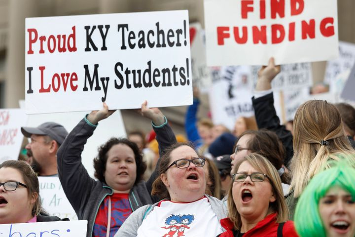Kentucky teachers rally outside the state Capitol on April 2. They plan to return on Friday to protest pension changes, poten