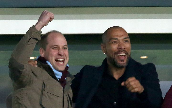 The Duke of Cambridge and former striker John Carew celebrate Jack Grealish's goal during the soccer match on Tuesday.