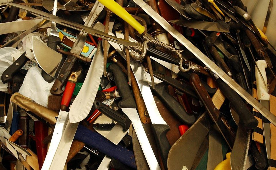 Knives handed in during a five-week amnesty in Glasgow in
