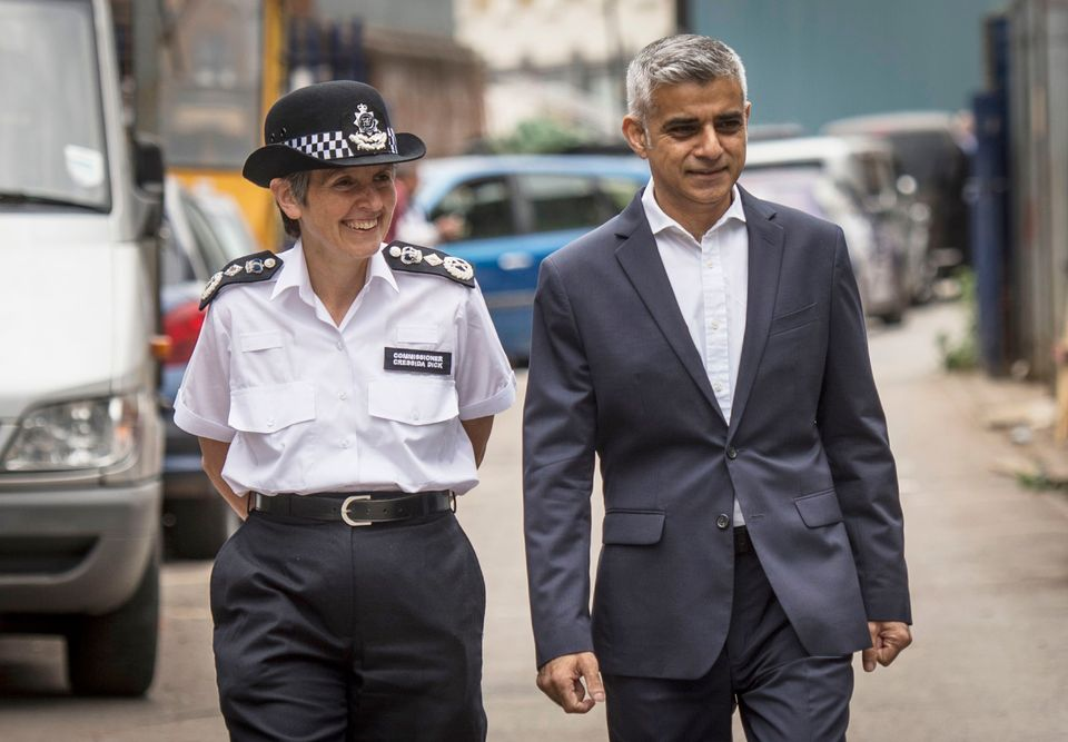 The Mayor of London Sadiq Khan and Met Police Commissioner Cressida Dick arrive to launch a new Knife...