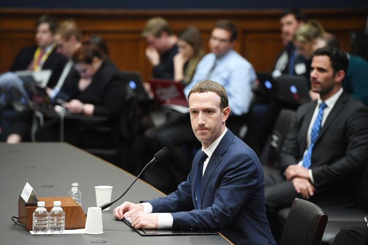 Facebook CEO Mark Zuckerberg appears at a House Energy and Commerce Committee hearing on Wednesday. His time on Cap