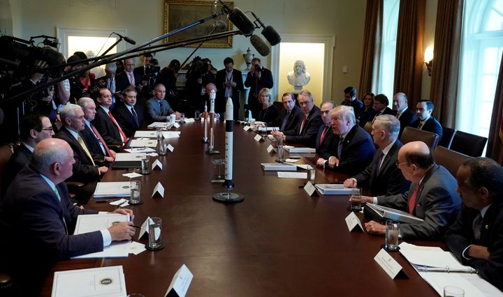 President Donald Trump with members of his Cabinet at the White House on March 8.
