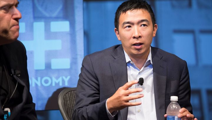 Andrew Yang, whose proposal for a universal basic income is at the forefront of his bid for the Democratic presidential nomin