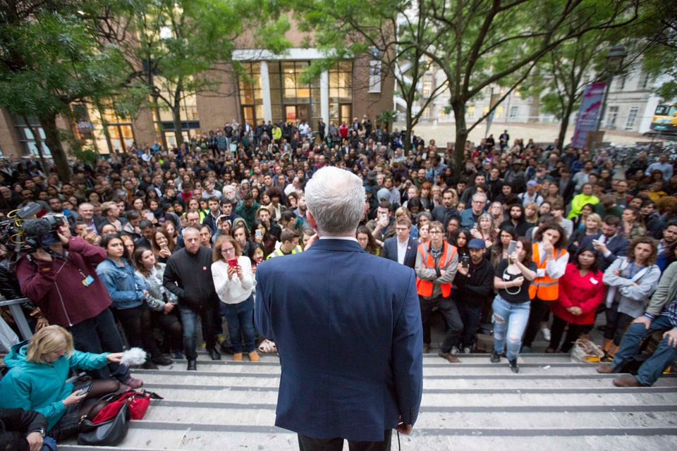 Labour leader Jeremy Corbyn speaking at a Momentum event at the School of Oriental and African Studies...