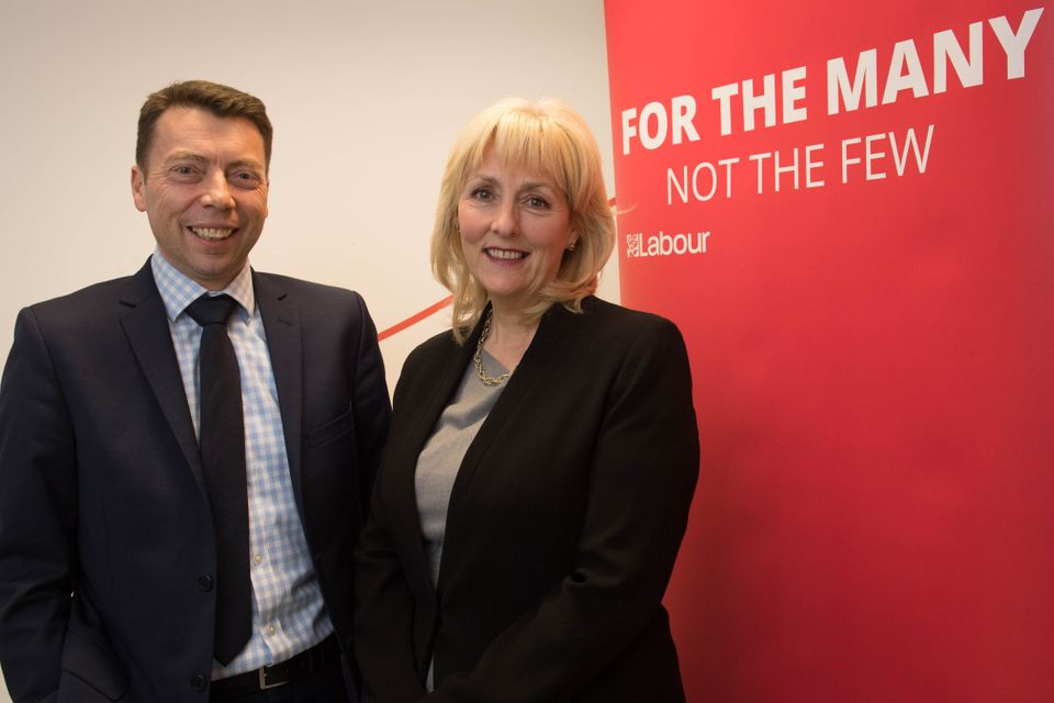 Jennie Formby at the Labour headquarters in central London with Iain McNicol, after she was appointed...