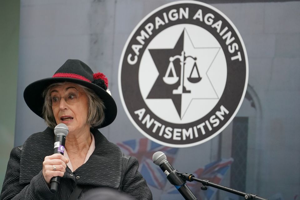 Acrtress Maureen Lipman speaks to campaigners from the Campaign Against Antisemitism as they demonstrate...