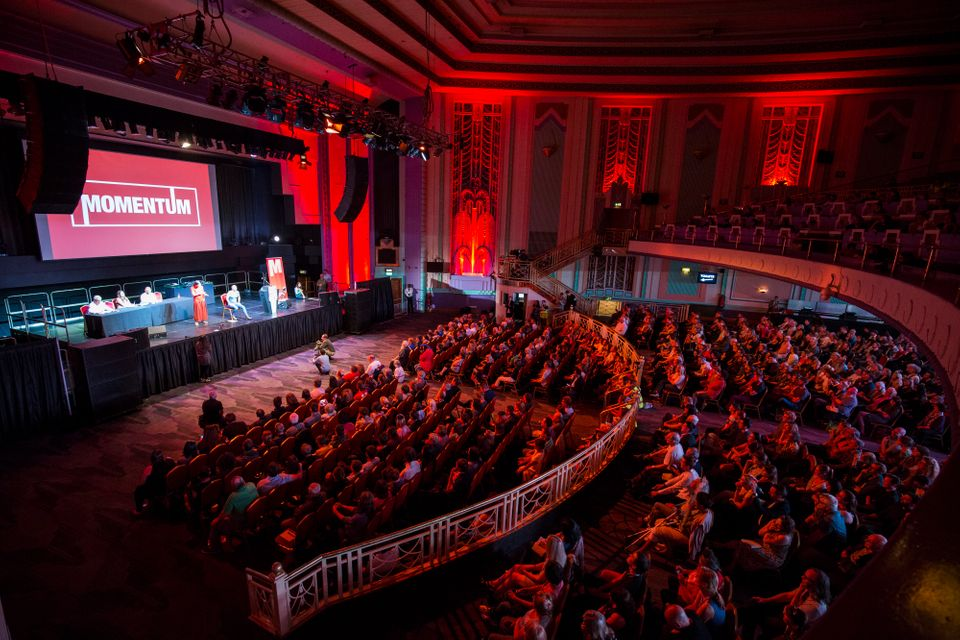 A Momentum rally in support of Corbyn at The Troxy on July 6, 2016 in