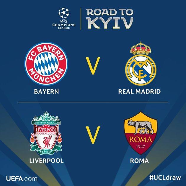 Football: Bayern-Real, Liverpool-As Roma en demi-finales de la Ligue des