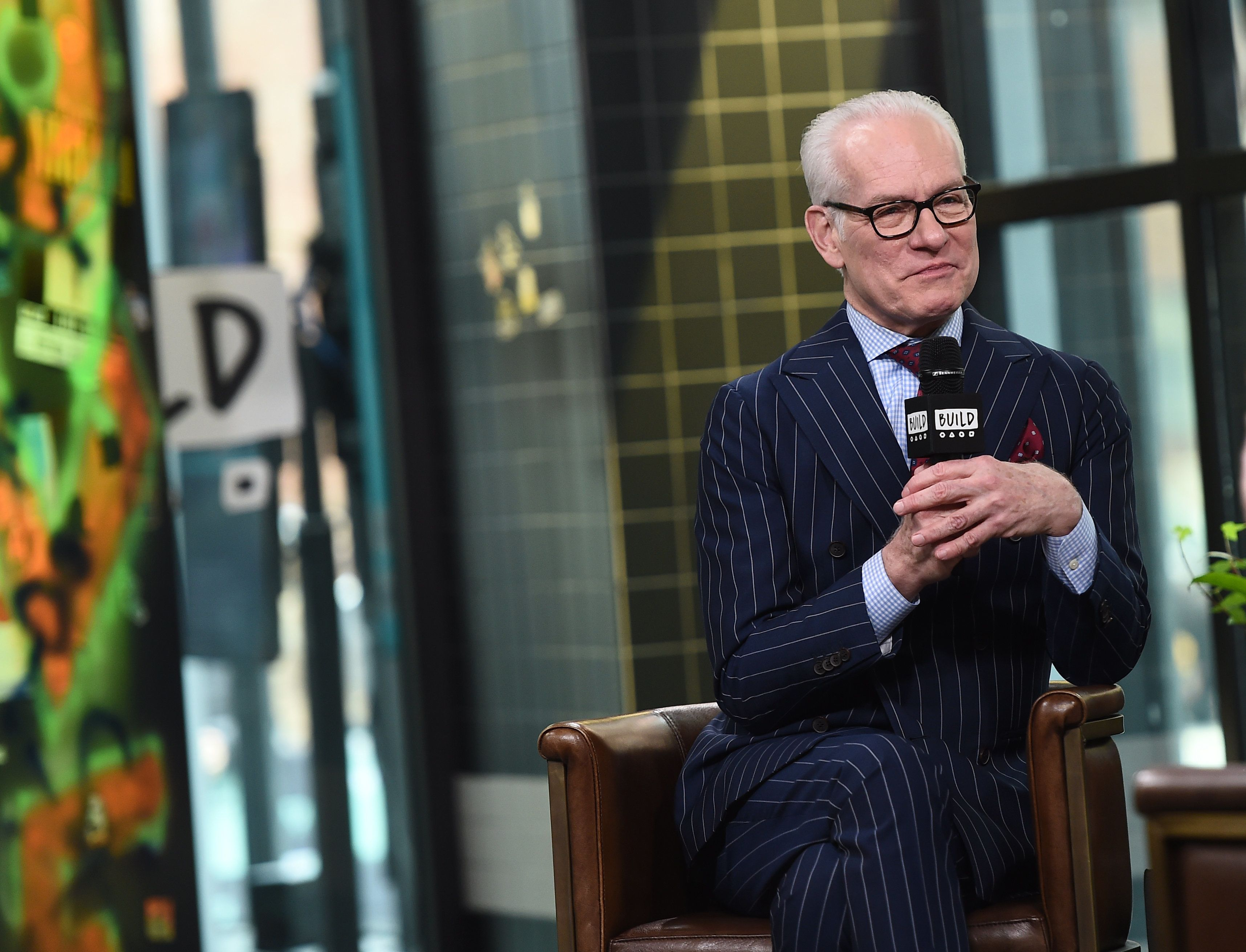 NEW YORK, NY - APRIL 12:  Fashion personality Tim Gunn visits Build studios to discuss his partnership with Command Brand at Build Studio on April 12, 2018 in New York City.  (Photo by Ilya S. Savenok/Getty Images)