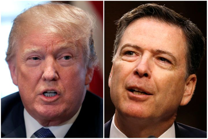 Former FBI Director James Comey, right, writes in his new book that he thought Donald Trump would not win the presidency.
