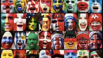This composite image shows a fan of each of the national teams taking part in the 2018 World Cup starting on June 14 2018 in Russia