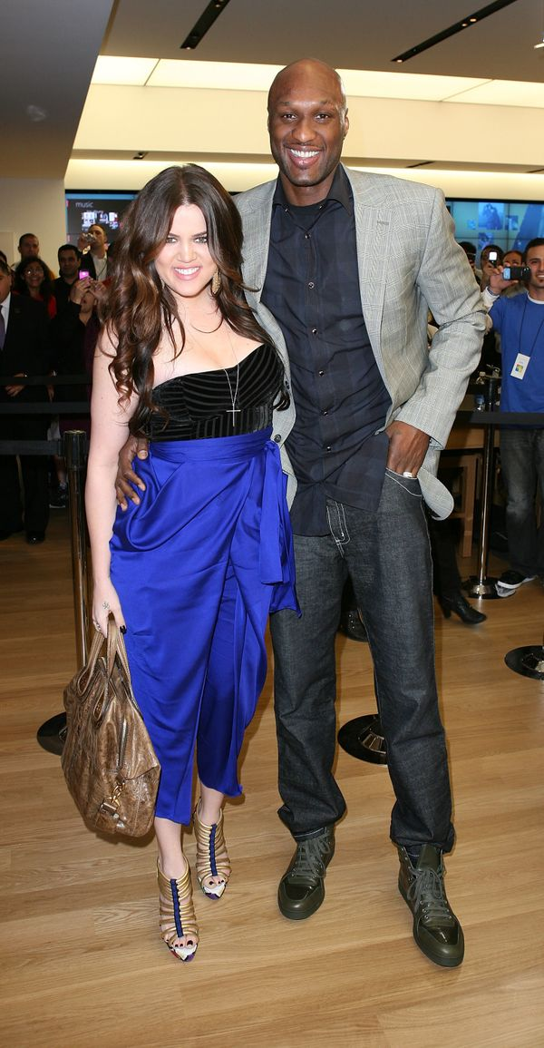 With then-husband Lamar Odom at the Microsoft Store opening at South Coast Plaza in Costa Mesa, California.