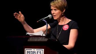 """FILE PHOTO: Actress Cynthia Nixon speaks during the """"People's State of the Union"""" event one day ahead of President Trump's State of The Union Speech to Congress, in Manhattan, New York, U.S.,  January 29, 2018. REUTERS/Darren Ornitz/File Photo"""