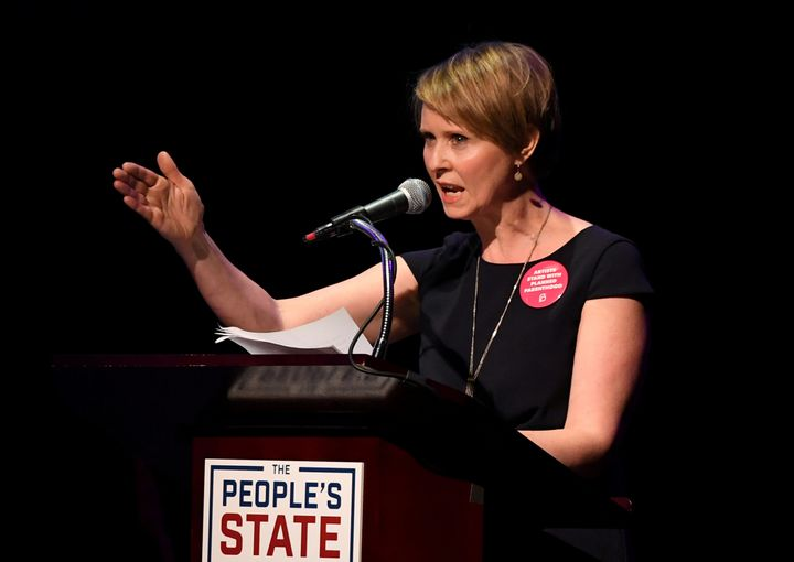 Democrat Cynthia Nixon, seen here speaking in New York City on Jan. 29, 2018, is embracing her role as a progressive maverick