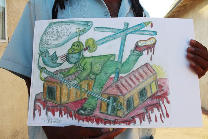 A drawing by Sanchez shows a man being killed after fleeing police.