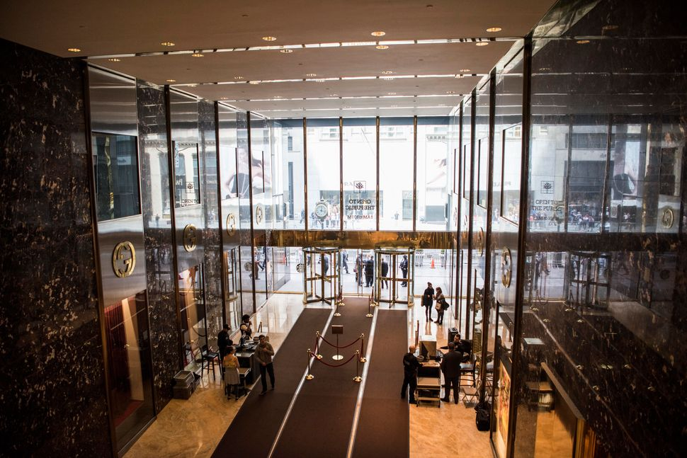The main lobby of Trump Tower. Residents use a different entrance.