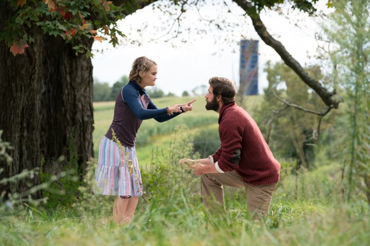 "Millicent Simmonds as Regan Abbott and John Krasinski as Lee Abbott in ""A Quiet Place."""