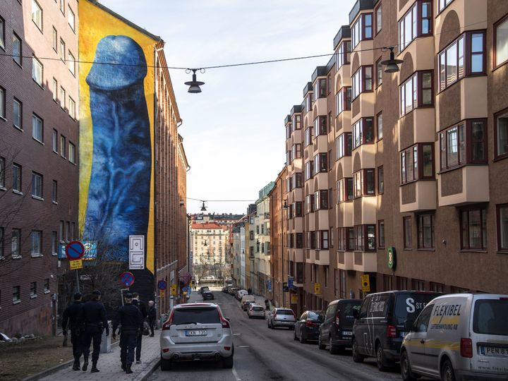 Carolina Falkholt's piece is seen in Stockholm, April 11.