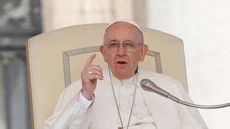 Pope Francis gestures during the Wednesday general audience in Saint Peter's square at the Vatican, April 11, 2018. REUTERS/Remo Casilli