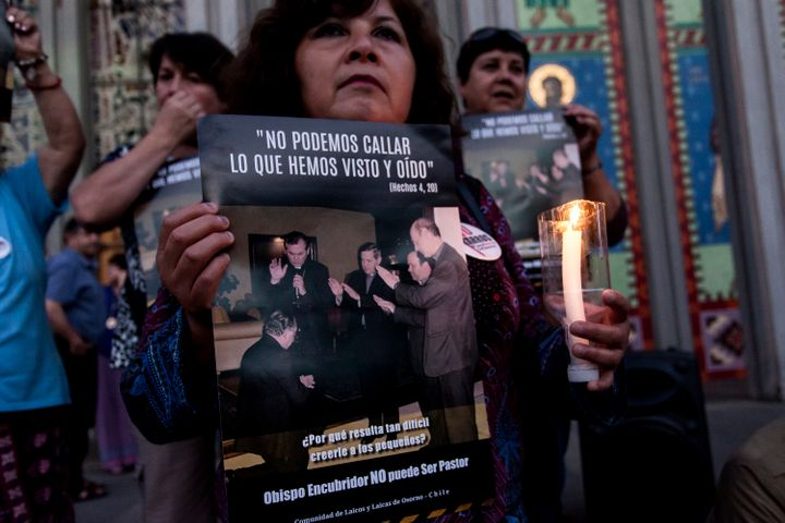 People protest againstJuan Barros, current Bishop of Osorno, in front of a cathedral in Osorno, Chile, on Feb. 23, 2018