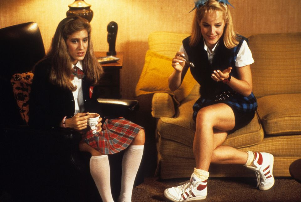 Sarah Jessica Parker and Helen Hunt watching TV at home in a scene from the film