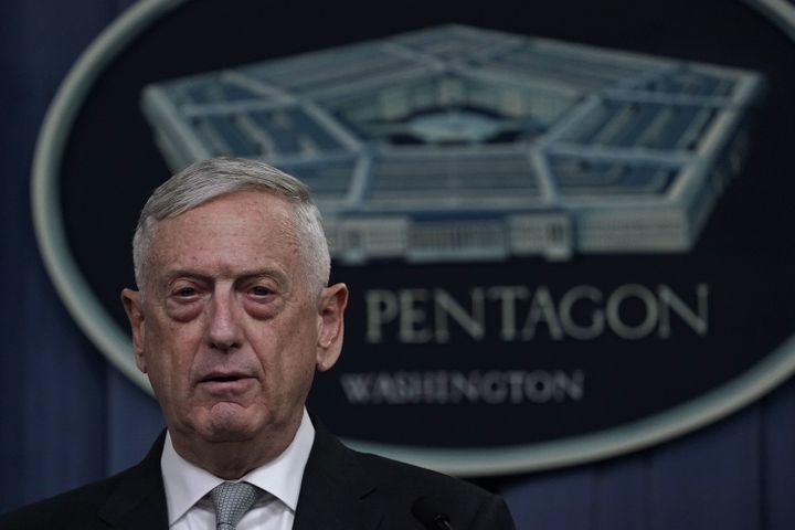 Defense Secretary Jim Mattis briefs members of the media on the Syria airstrikes at the Pentagon on Friday night.