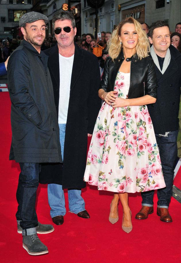 Ant (left) with Simon Cowell and fellow 'Britain's Got Talent' stars Amanda Holden and Declan