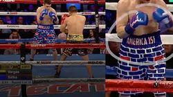 Ce boxeur américain pro-Trump avait un mur dessiné sur son short, il a été battu par un